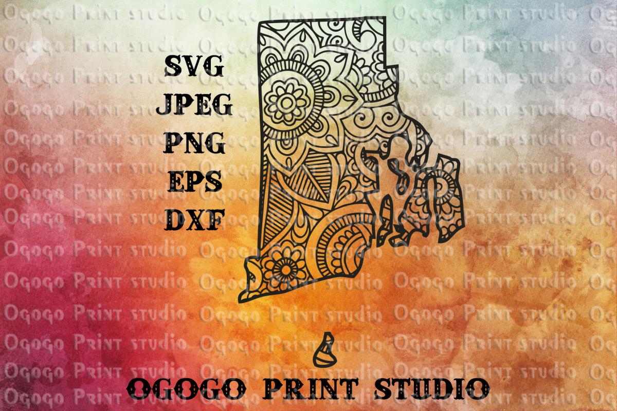 Rhode Island SVG, Map svg, Zentangle SVG, Mandala svg example image 1