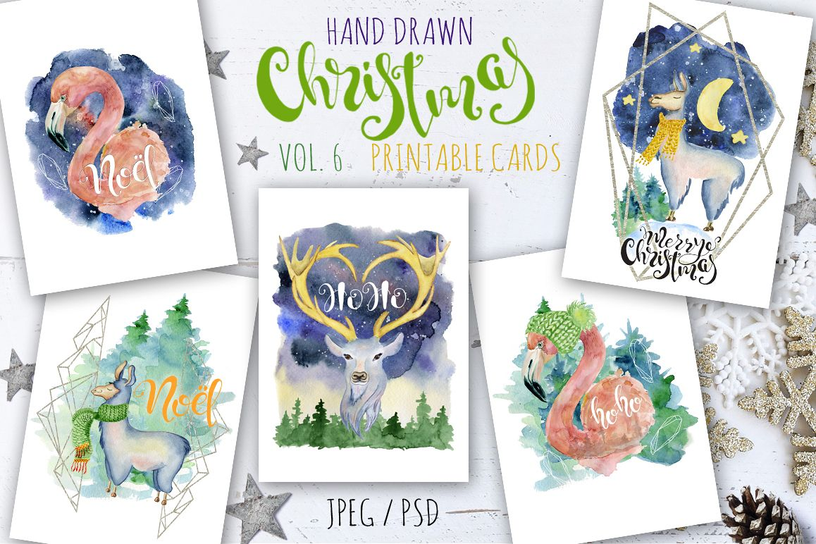 Christmas watercolor cards Vol.6 example image 1