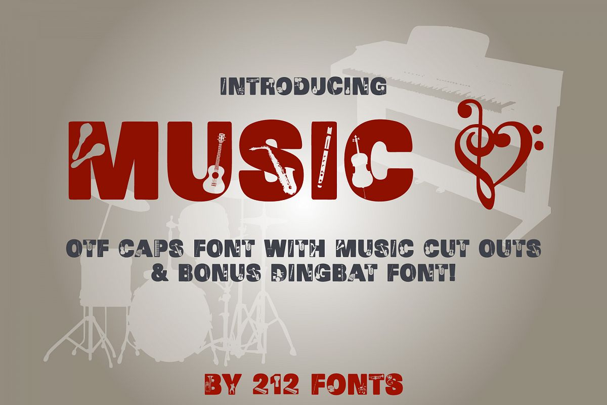 212 Music Caps Display Font Instruments Notes Alphabet OTF example image 1
