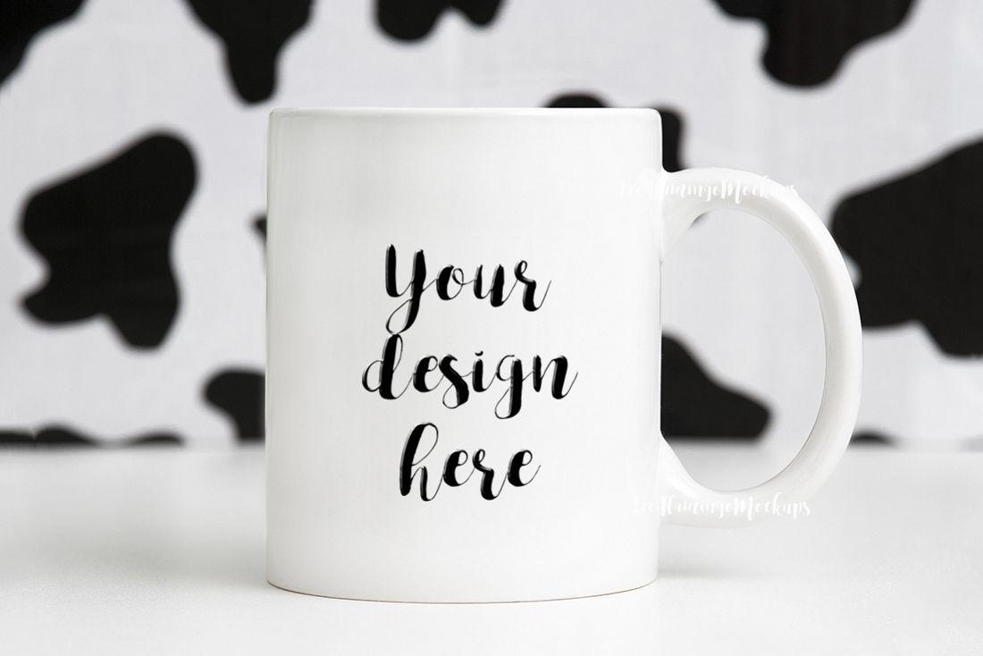 11oz White Coffee Mug Mockup animal print background example image 1