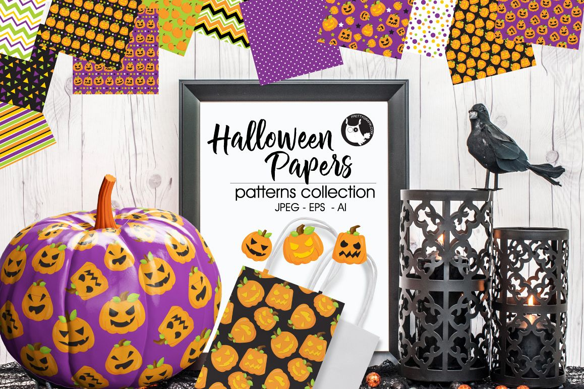 HALLOWEEN-PAPERS, digital papers example image 1