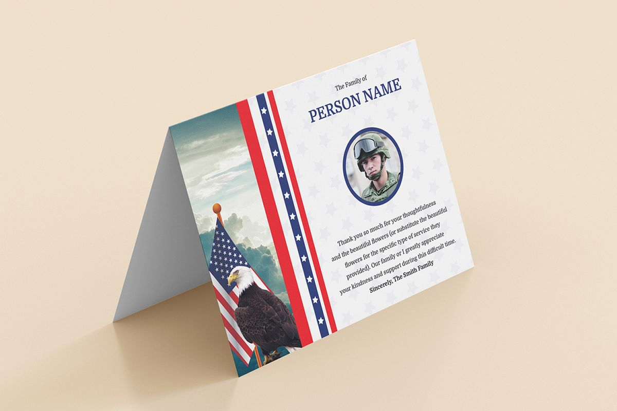 funeral thank you card for army militar design bundles