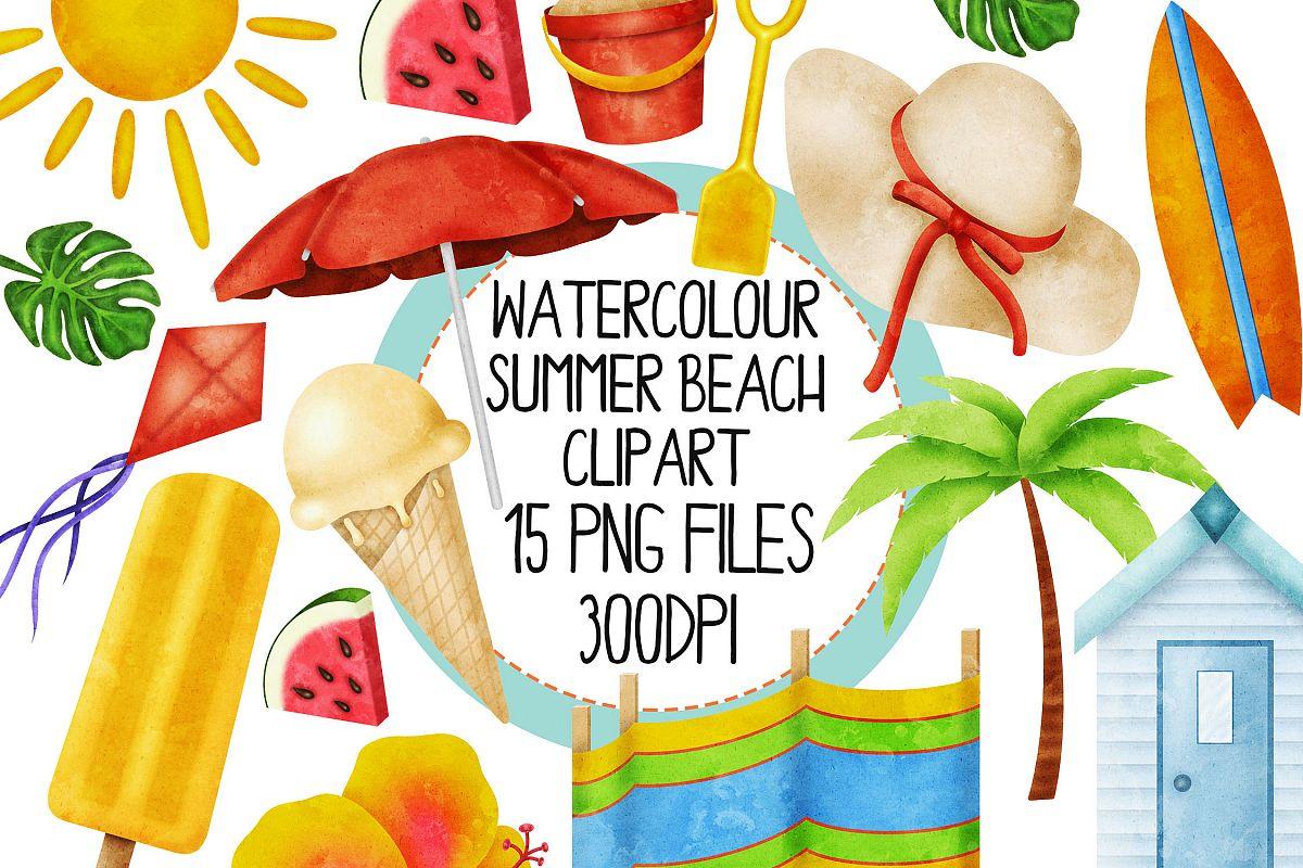 Watercolor Summer Beach Clip Art Set 1 example image 1
