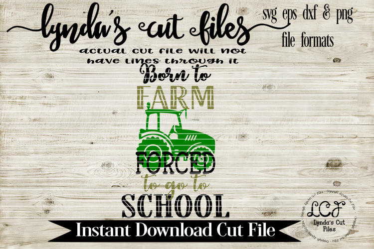 Born to Farm Forced to go to School/SVG//EPS//DXF example image 1