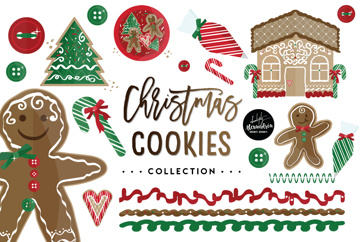 Christmas Cookies Clipart Graphics & Digital Paper Patterns Bundle example image 1