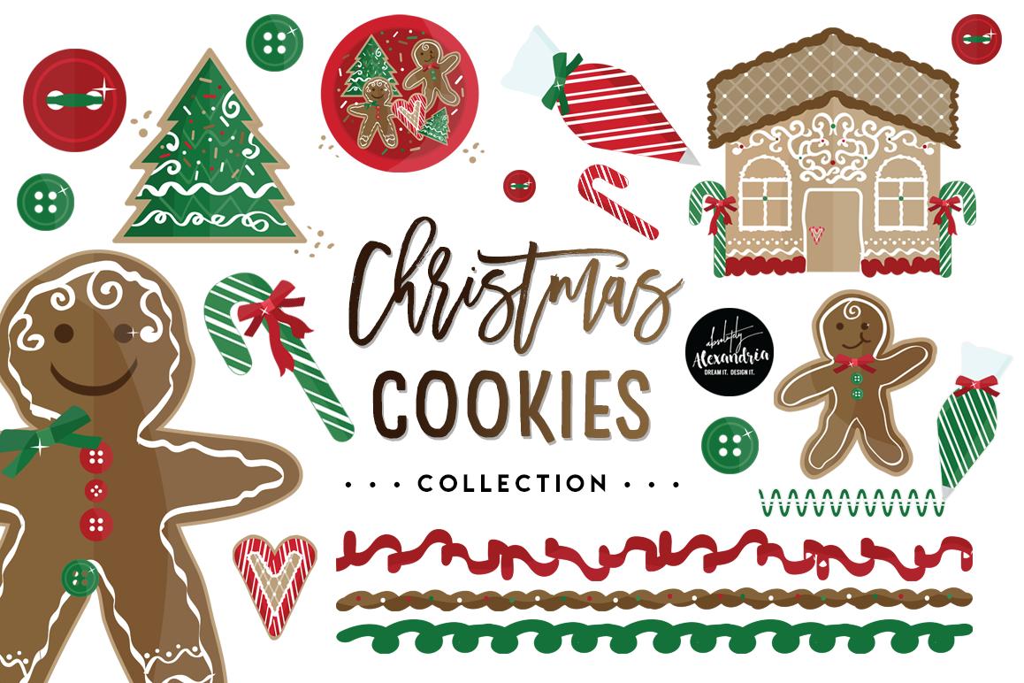 Christmas Cookies Clipart Graphics Digital Paper Patterns Bundle