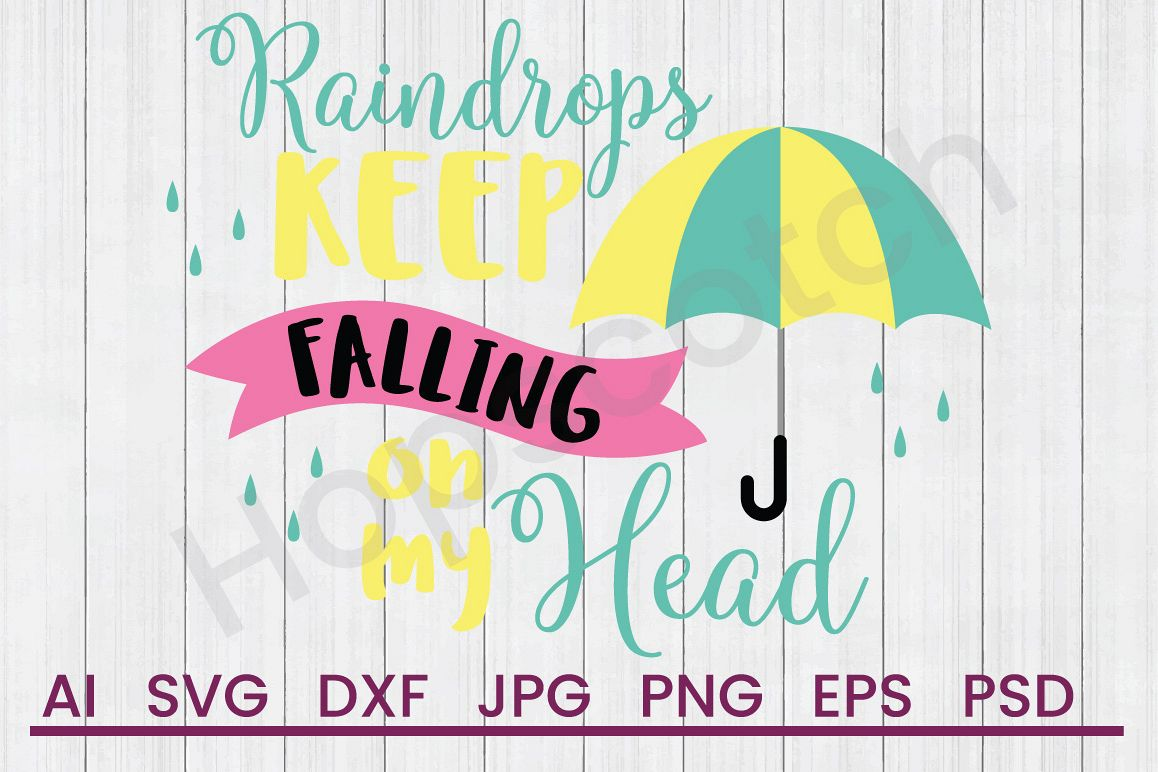 Umbrella SVG, Raindrops Fall SVG, DXF File, Cuttatable File example image 1