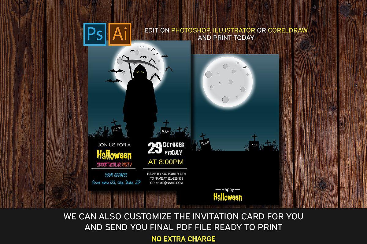 Halloween Invitation Card Eps Ai Psd Files
