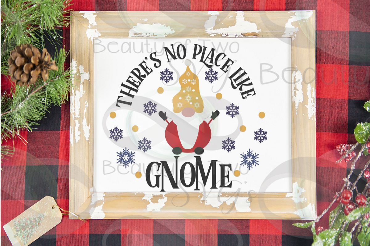 There's no place like Gnome Winter porch svg, Gnome Sign svg example image 1