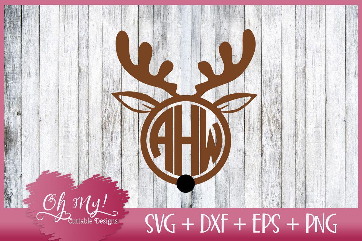 Reindeer Monogram Frame - SVG DXF EPS PNG Cutting File example image 1