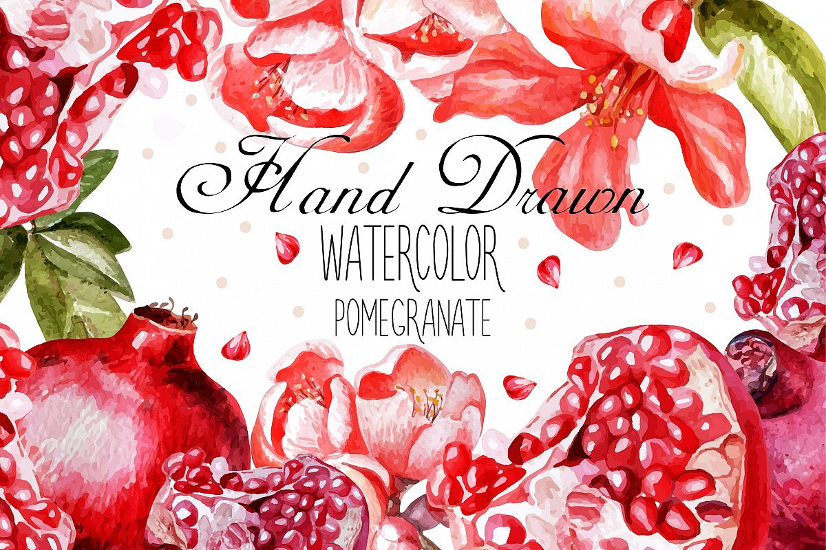 Beautiful watercolor pomegranates example image 1