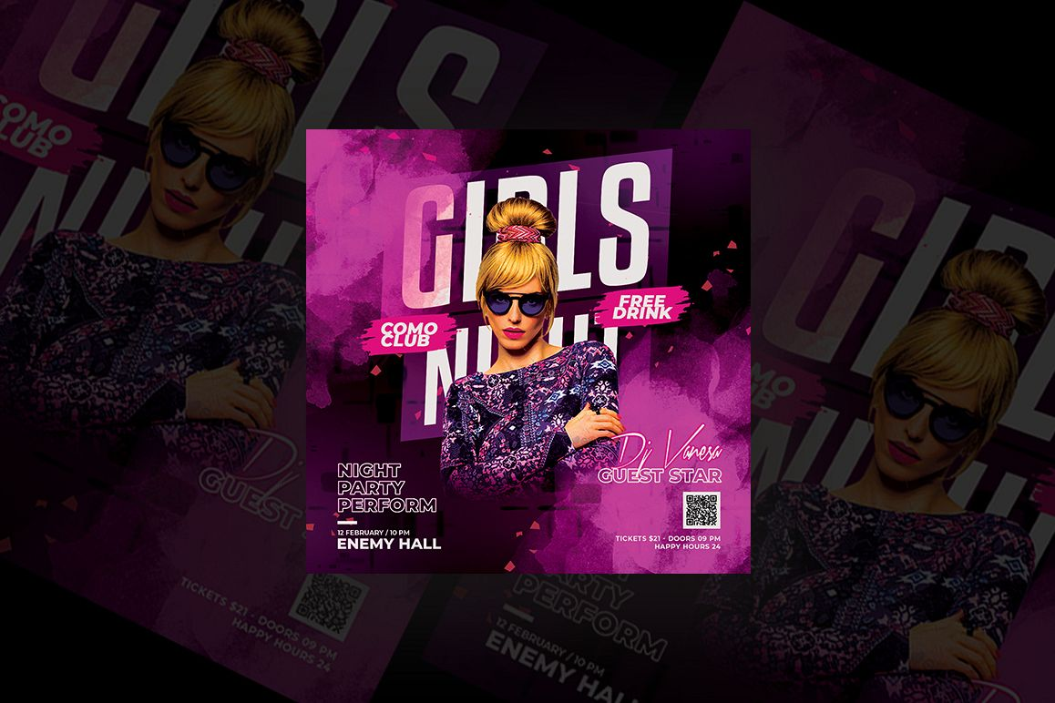 Girls Night Party Flyer example image 1