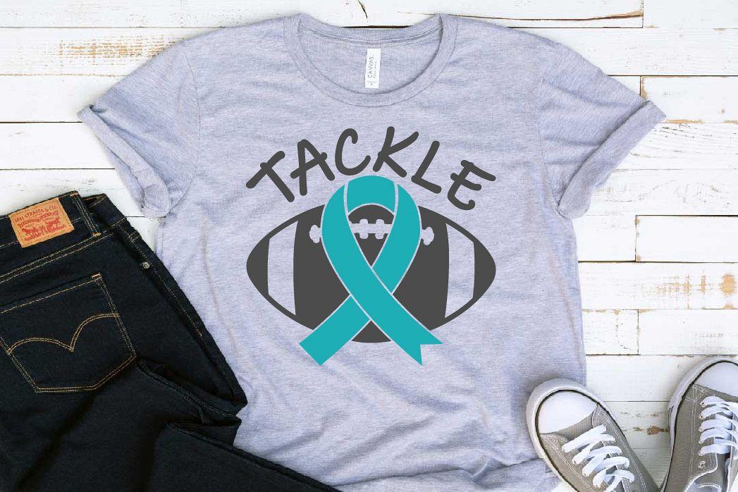 Tackle Football Ribbon Loss Svg Ovarian Cervical 1557s example image 1