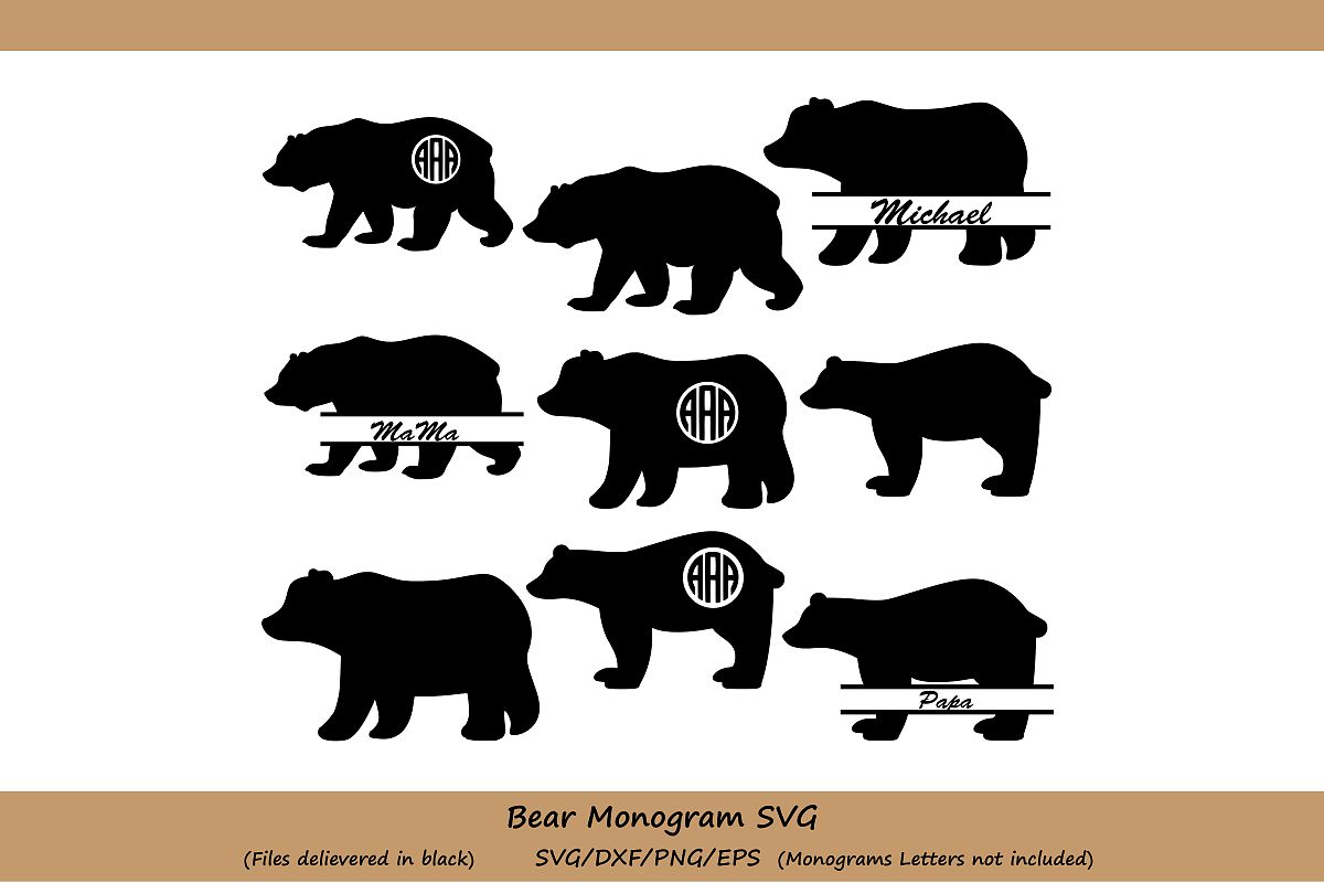 Bear Svg Cut File, bear monogram Svg, SVG Digital Design, Cutting file for Silhouette & Cricut, Bear Vector, bear clipart, svg, eps, dxf. example image 1