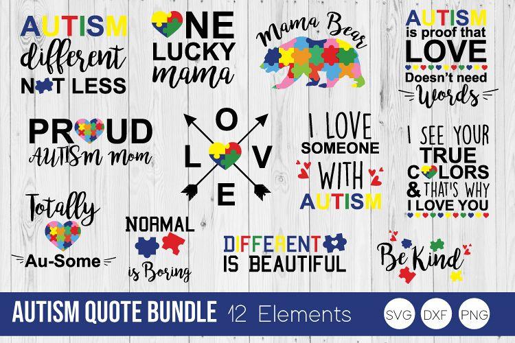 Autism Quote Bundle SVG Cut Files example image 1