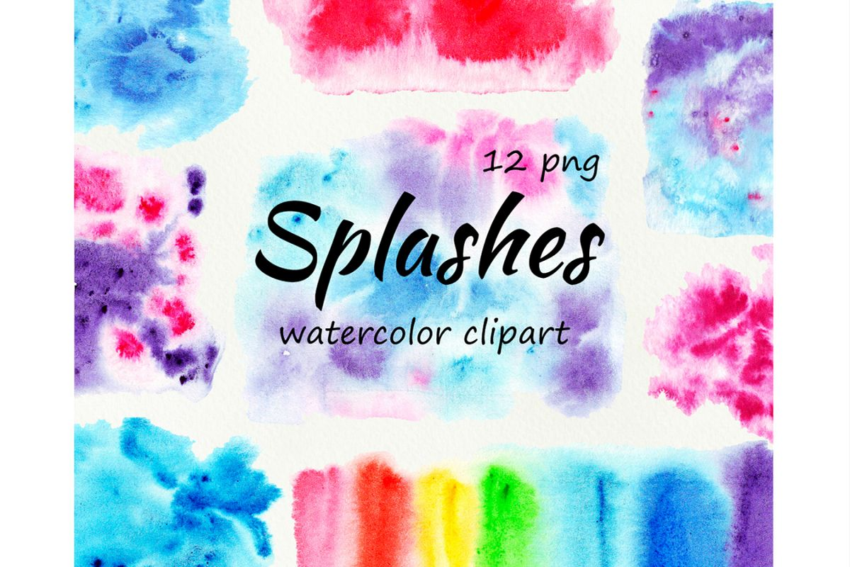 Bright Watercolor Splashes Spots Clipart example image 1