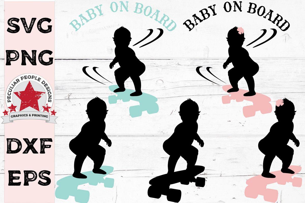 SVG Bundle Baby On Board Skateboarder Decal Gender Reveal example image 1