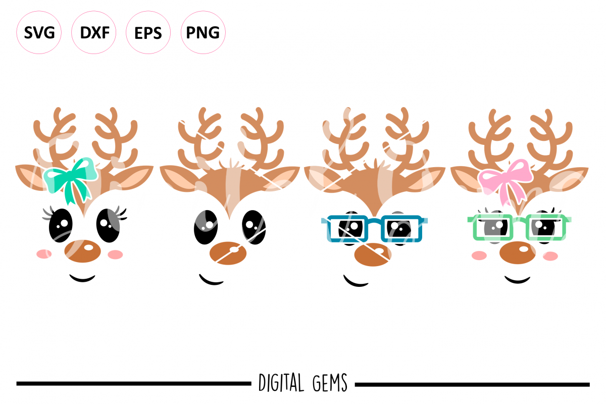 Reindeer SVG / DXF / EPS / PNG files example image 1