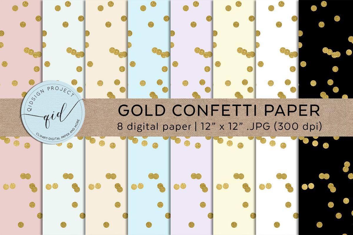 Gold Confetti Paper .JPG Digital Paper example image 1