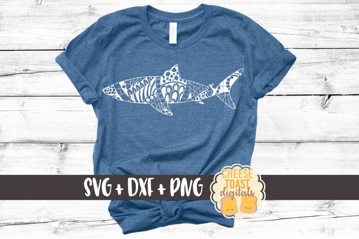 Shark - Zen Doodle Art - Ocean SVG PNG DXF Files example image 1
