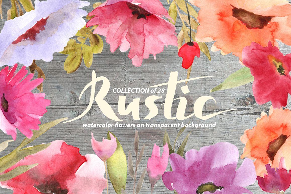 Rustic watercolor flowers set example image 1