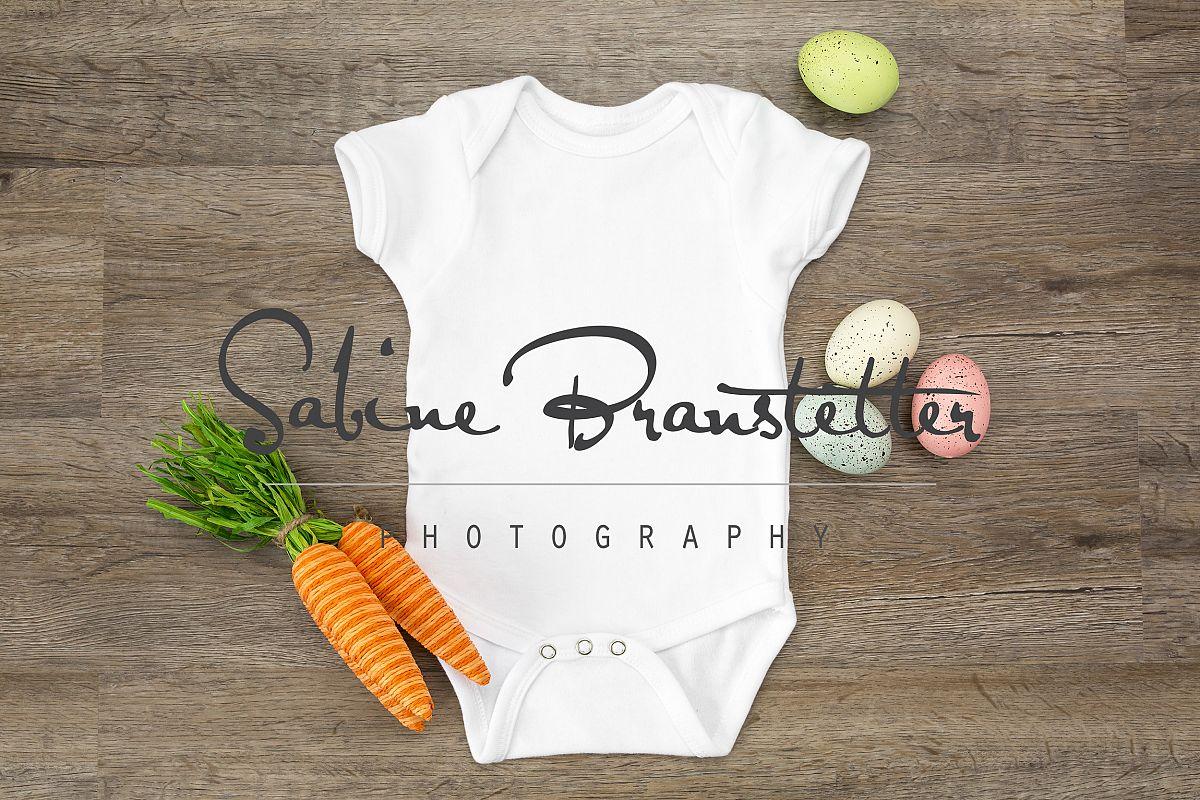 Styled Stock Photography White Easter Baby Bodysuit Mockup example image 1