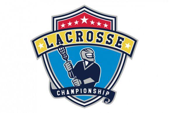 Lacrosse Player Ribbon Shield Retro example image 1