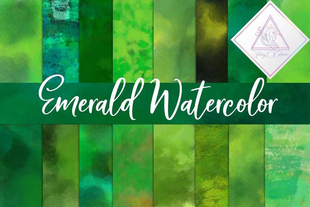Emerald Watercolor Digital Paper example image 1