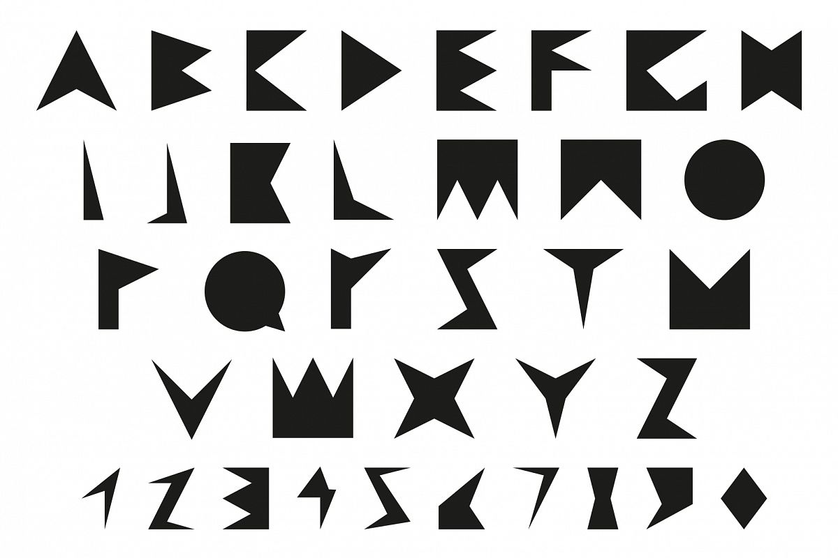 B&W Font with numbers. Alphabet. example image 1