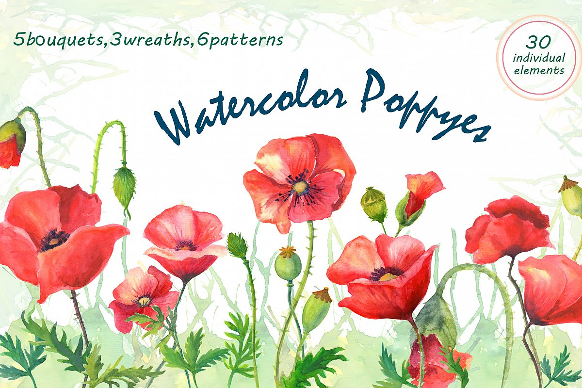 Watercolor poppies. example image 1