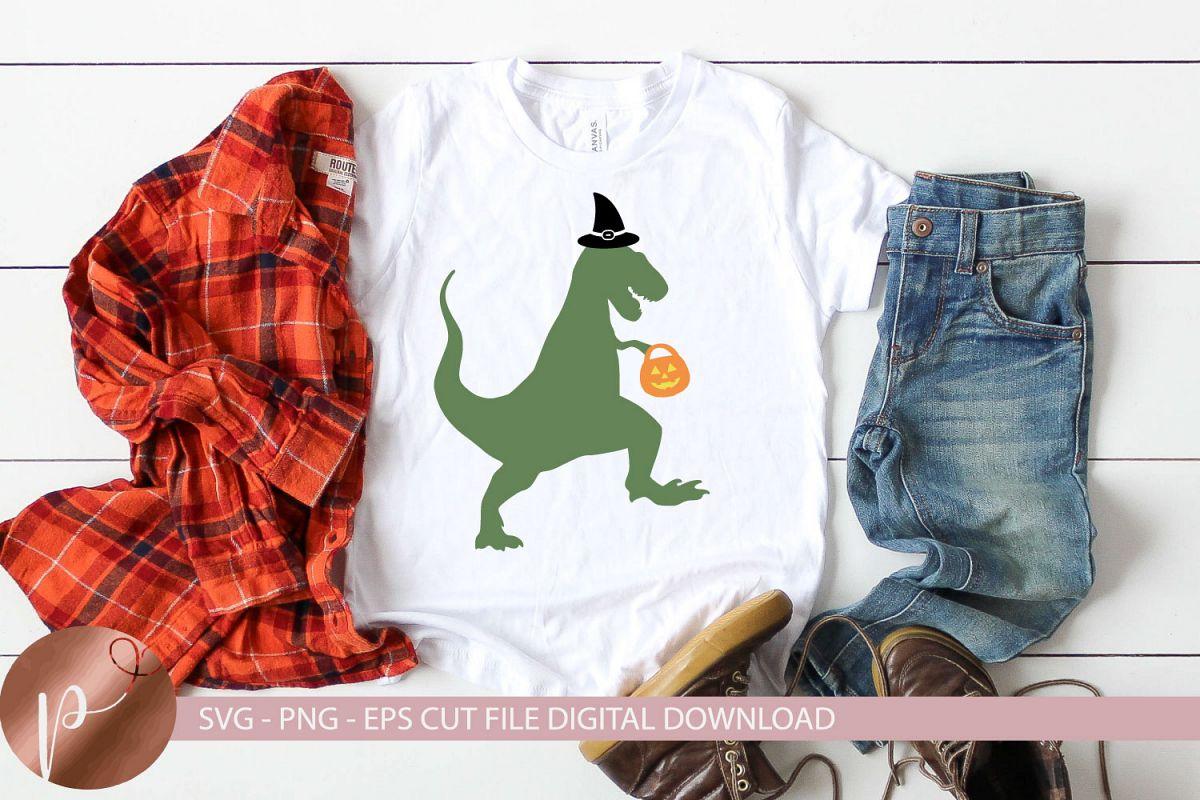 Halloween Dinosaur Svg, Witch Dinosaur Shirt Design, Cricut example image 1
