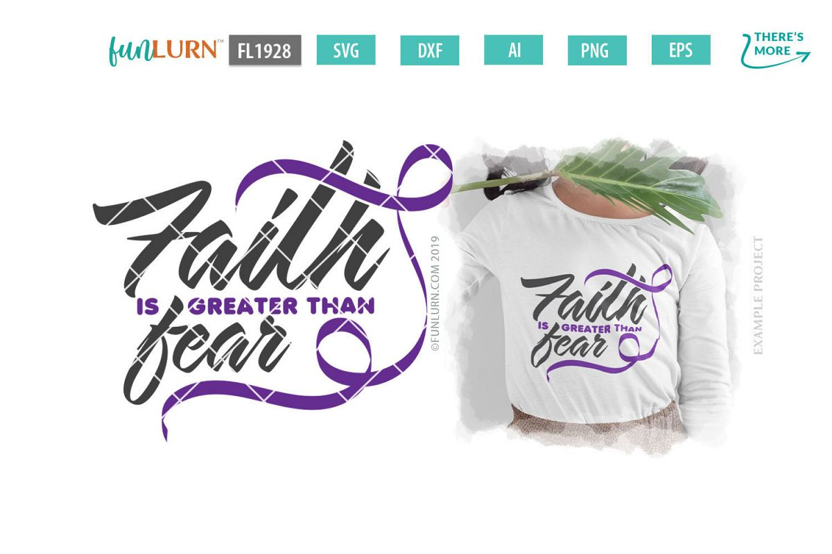 Faith is Greater Than Fear Purple Ribbon SVG Cut File example image 1