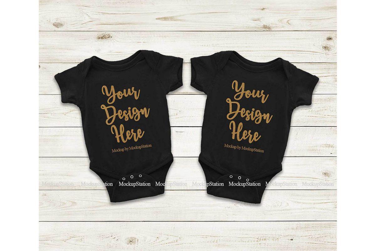 Matching Newborn Black Baby Bodysuit Mock Up, Infant Mockup example image 1