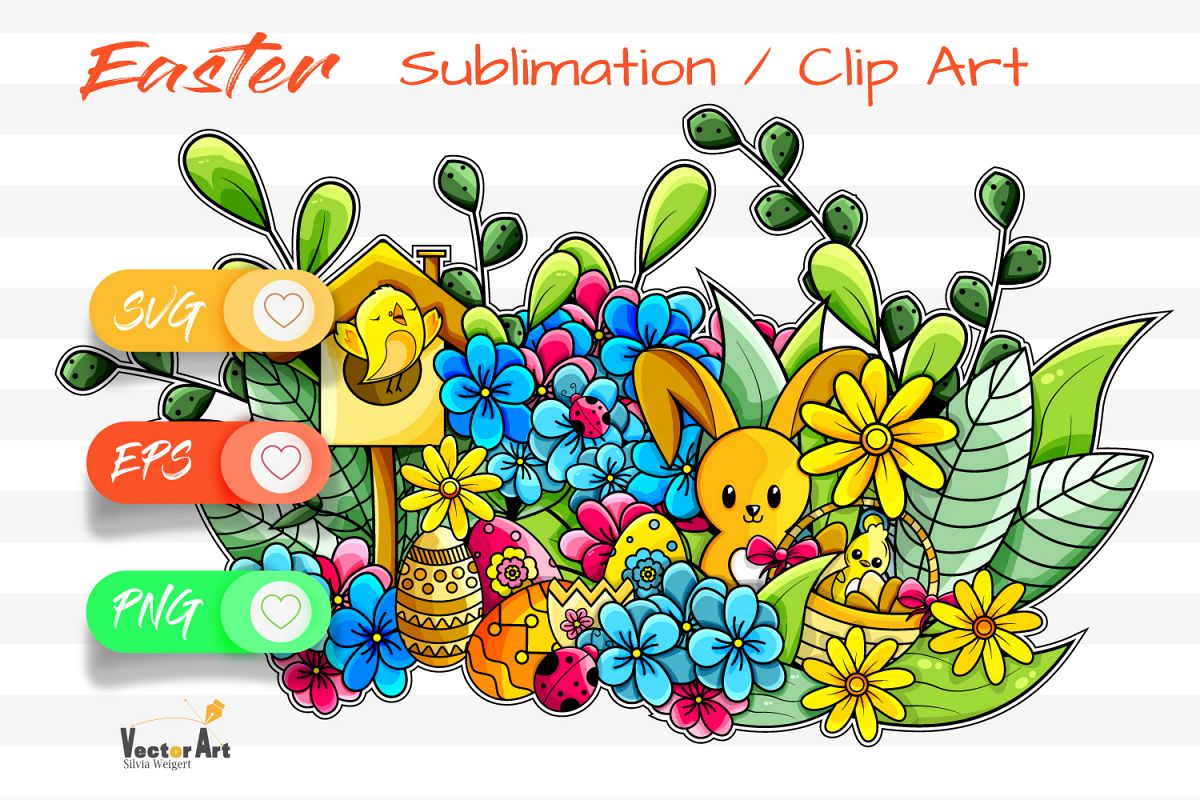 Happy Easter Illustration - Sublimation / Clip Art example image 1