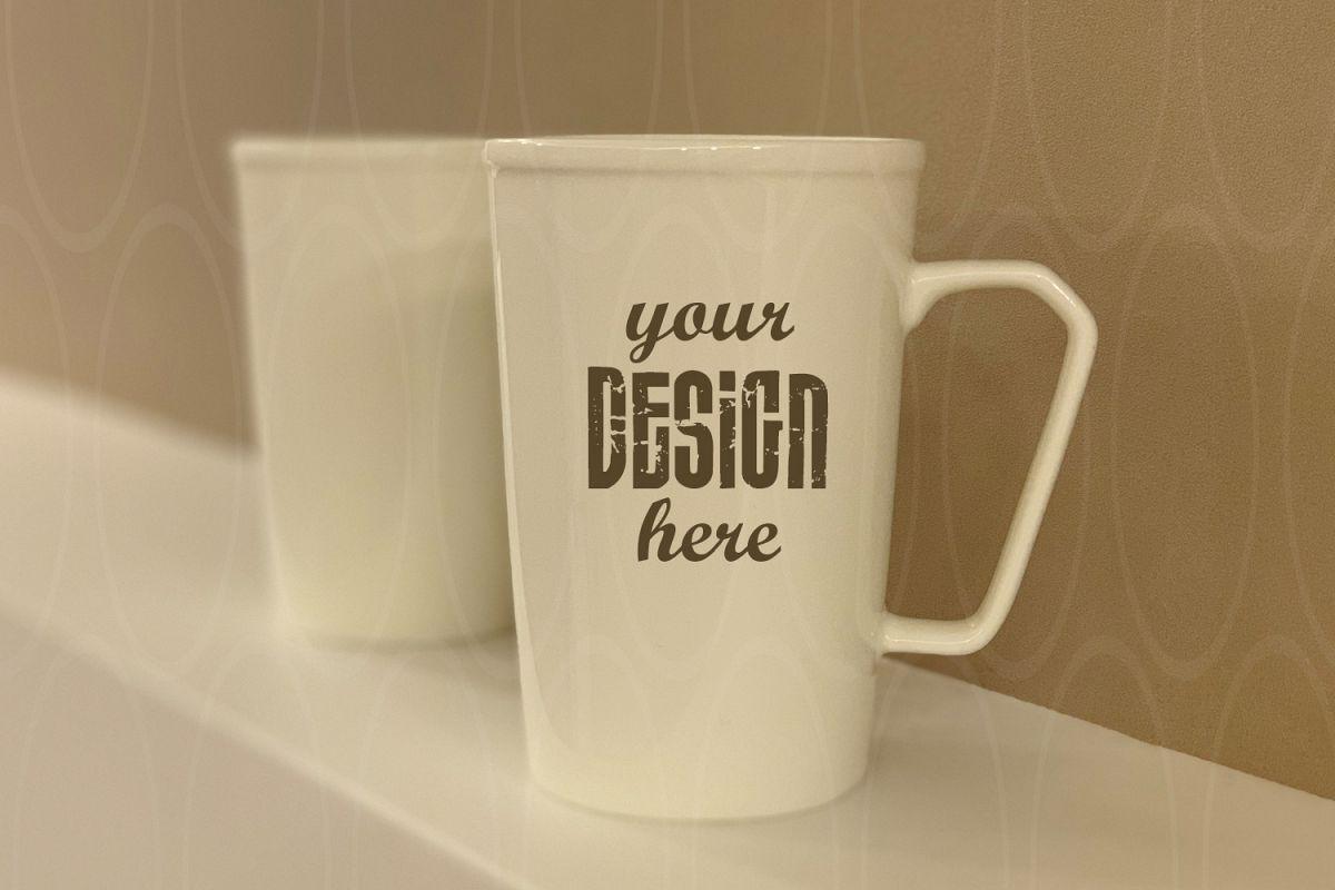 Blank White Coffee Glass White Mugs mock up Styled example image 1