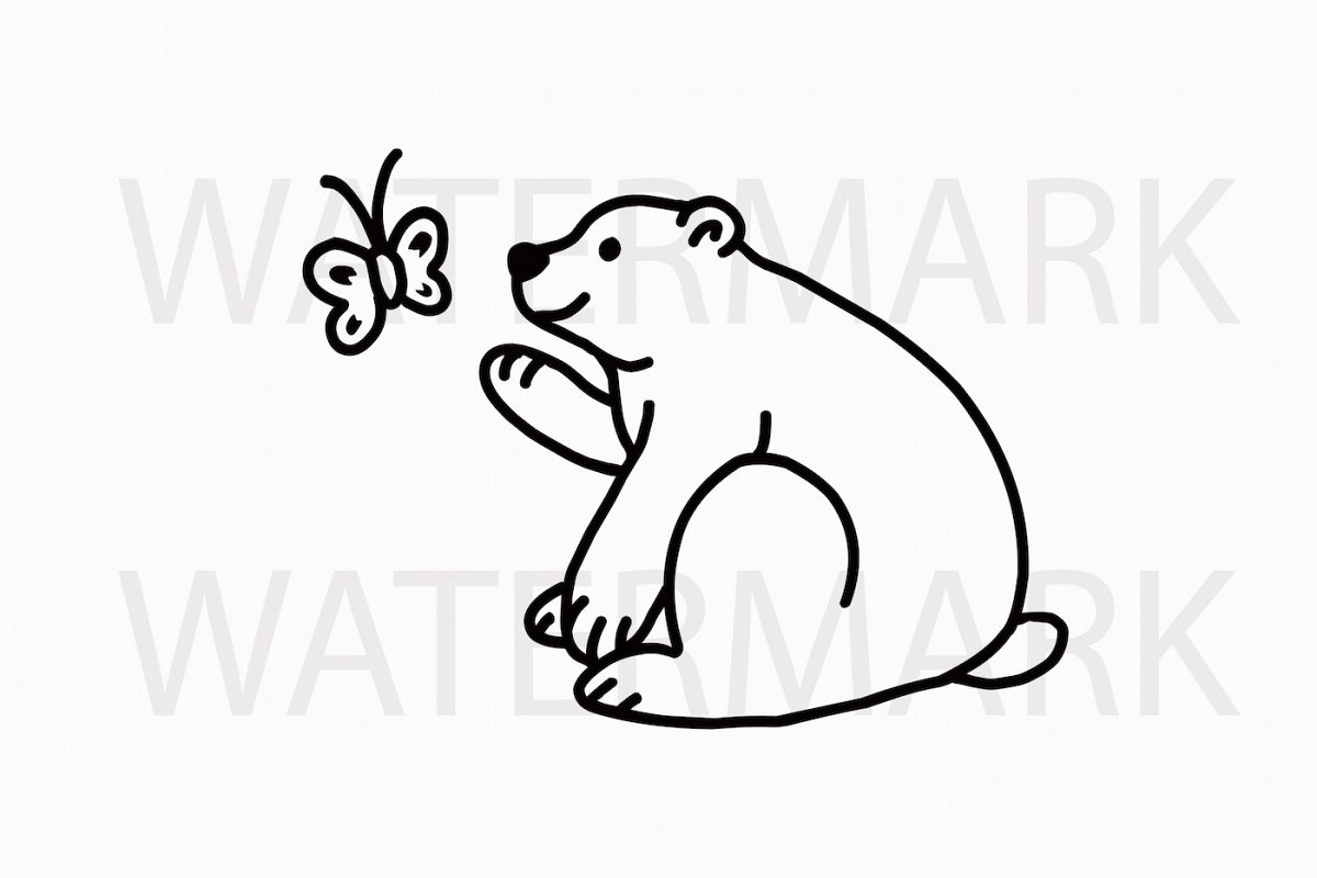 Bear Playing with a Butterfly - SVG/JPG/PNG Hand Drawing example image 1