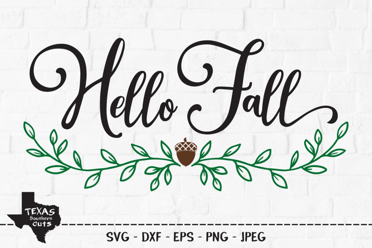 Hello Fall SVG, Cut File, Fall Shirt Design, Thanksgiving example image 1