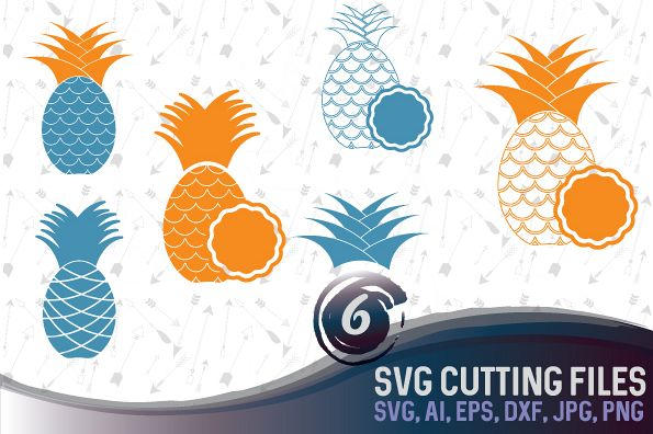 6 Pineapple vector designs and monogram templates SVG, DXF, JPG, PNG, DWG, AI, EPS example image 1
