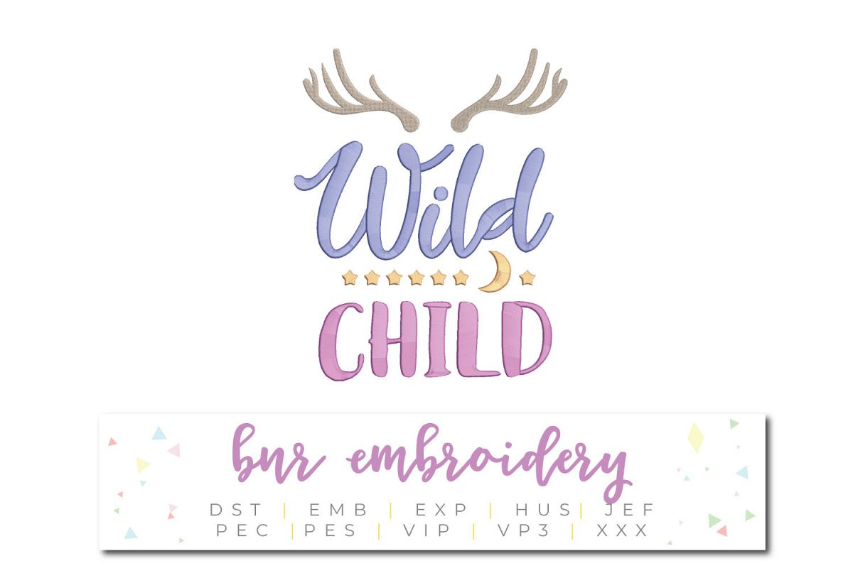 Wild Child Machine Embroidery Design example image 1
