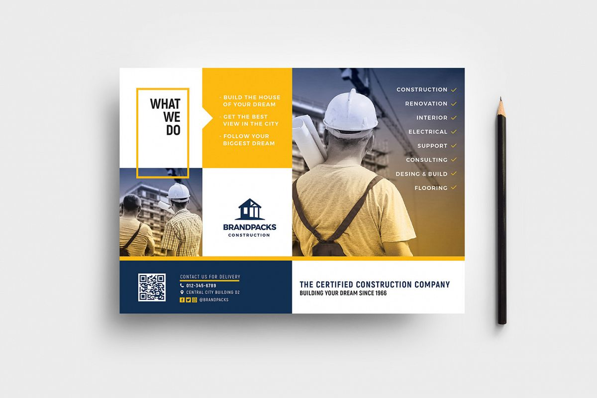 Construction Company Flyer Template example image 1