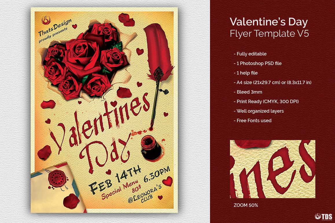 Valentines Day Flyer Template V5 Example Image 1
