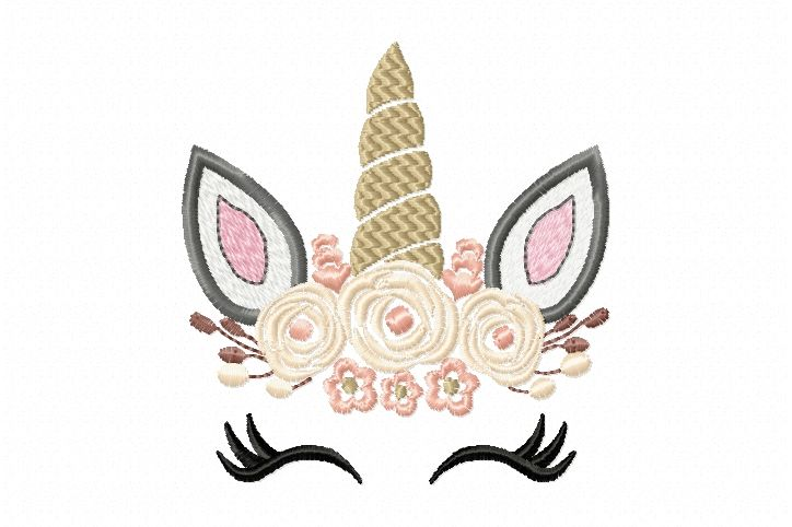 Pretty Unicorn Eyes Head Floral Design Unicorn Embroidery Design
