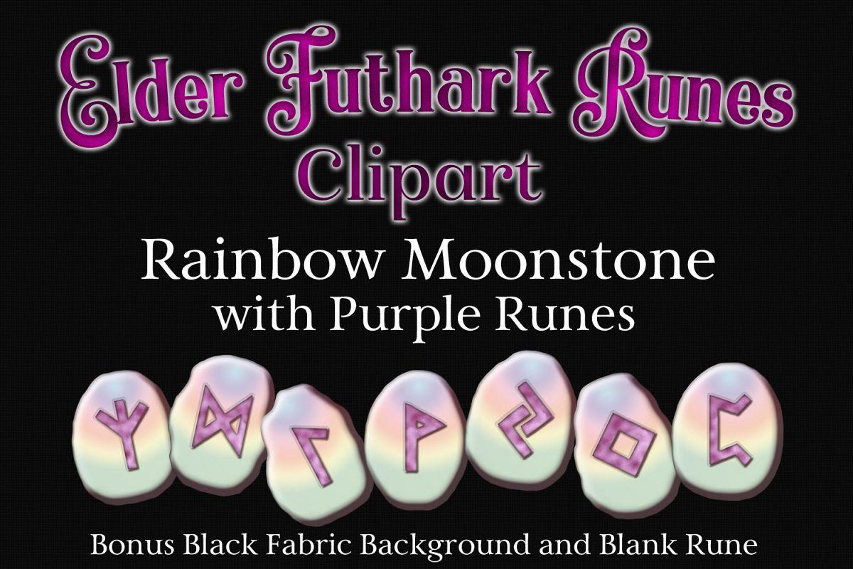 Rainbow Moonstone Elder Futhark Runes Set example image 1