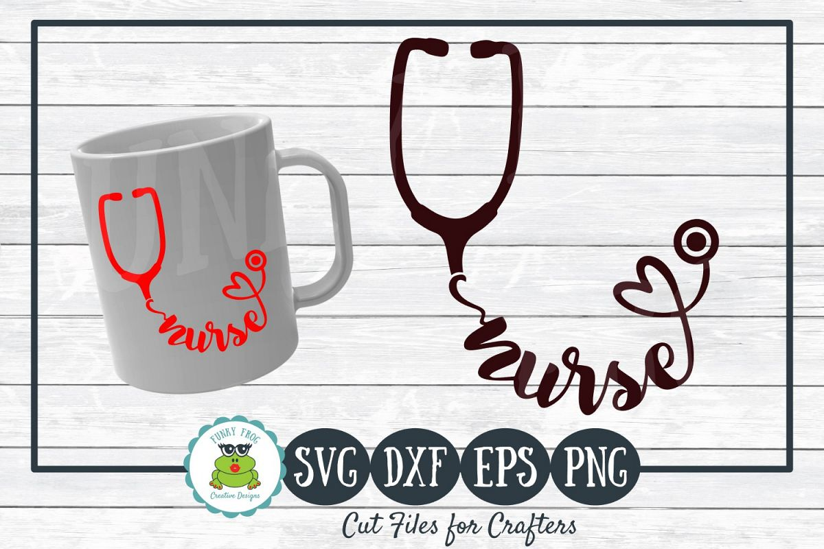 Nurse Stethoscope SVG Cut File for Crafters example image 1