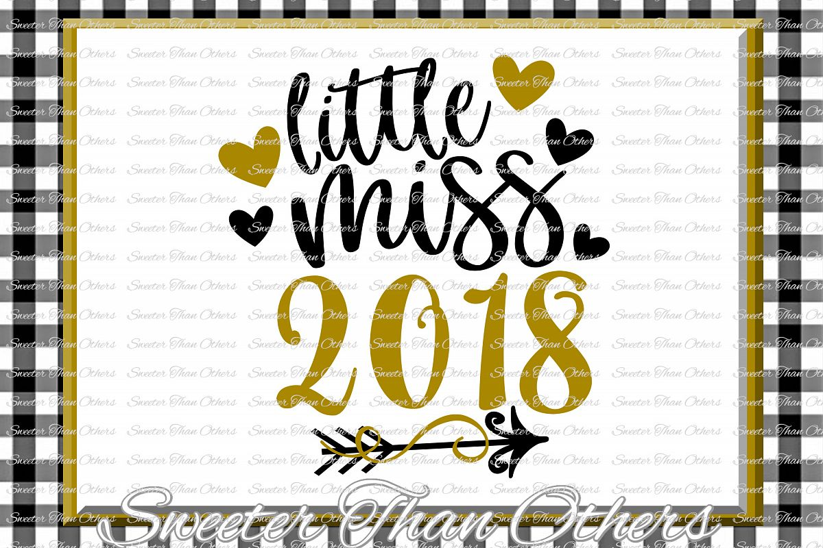 Little Miss 2018 svg, New Year 2018 SVG example image 1