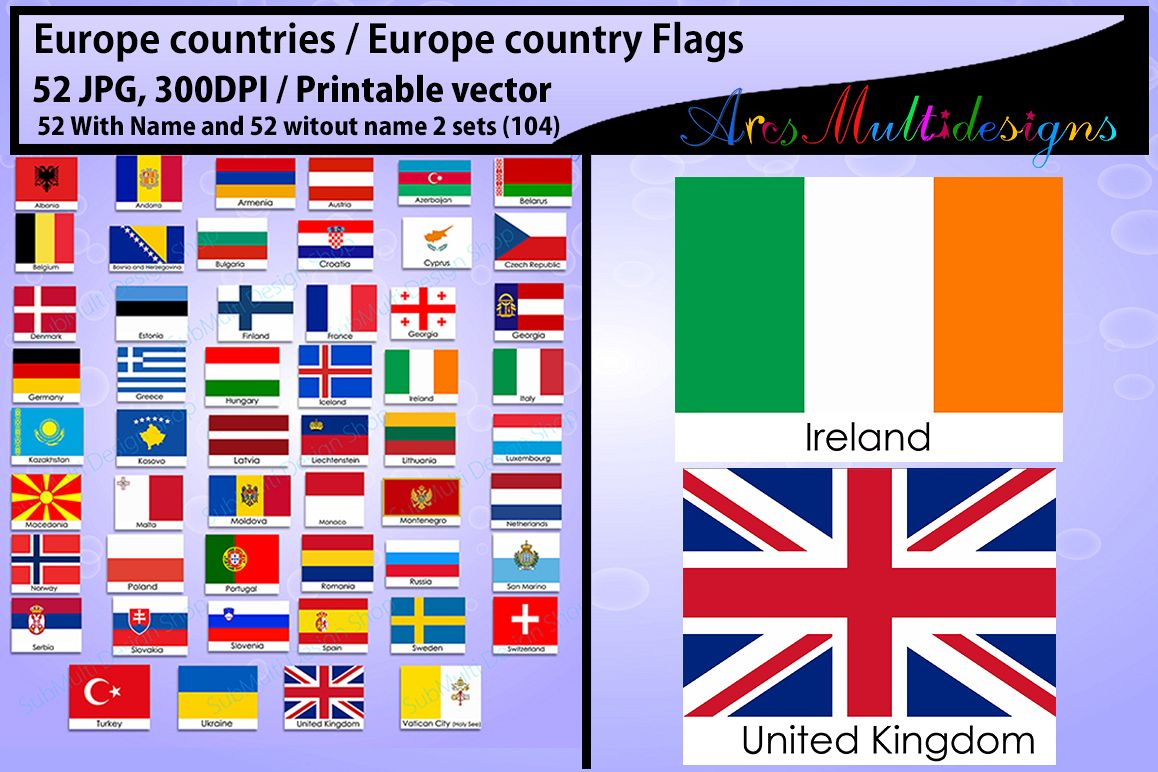 Europe Countries Country Flags Flag 300dpi Vector