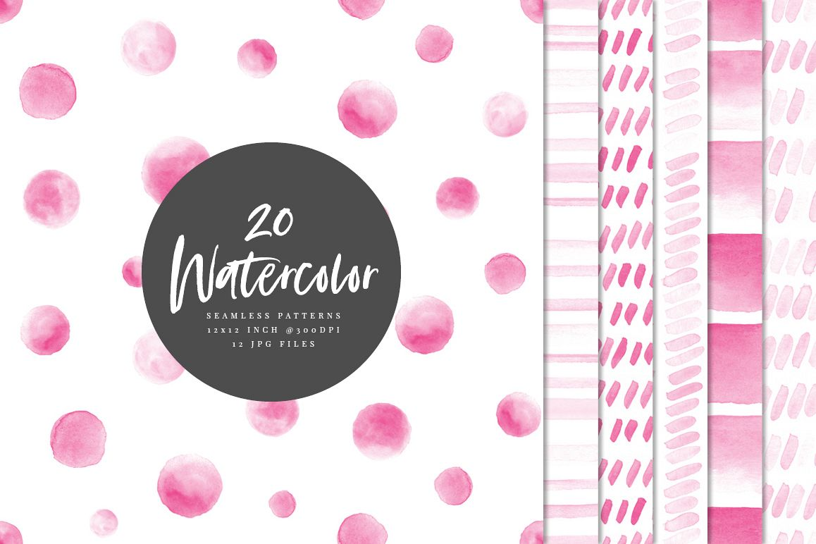 20 Seamless Watercolor Patterns Pink example image 1