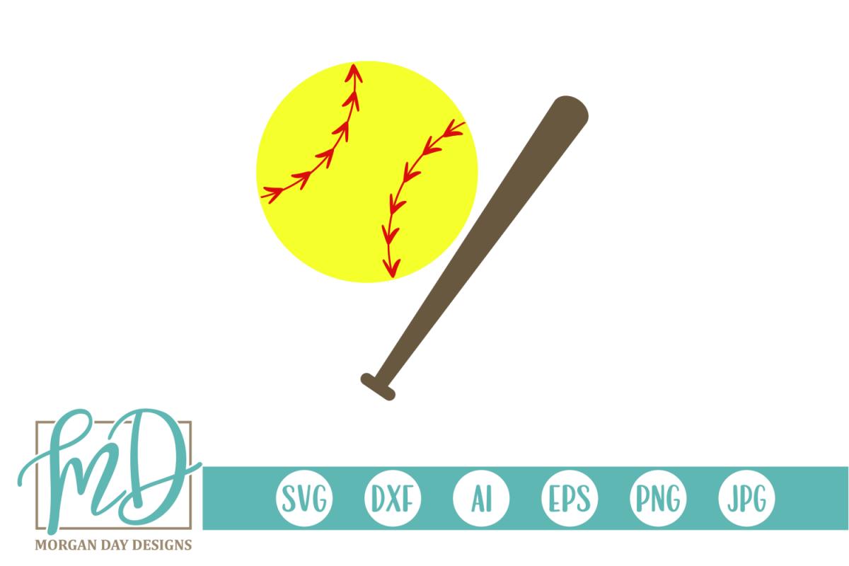 Softball SVG, DXF, AI, EPS, PNG, JPEG example image 1