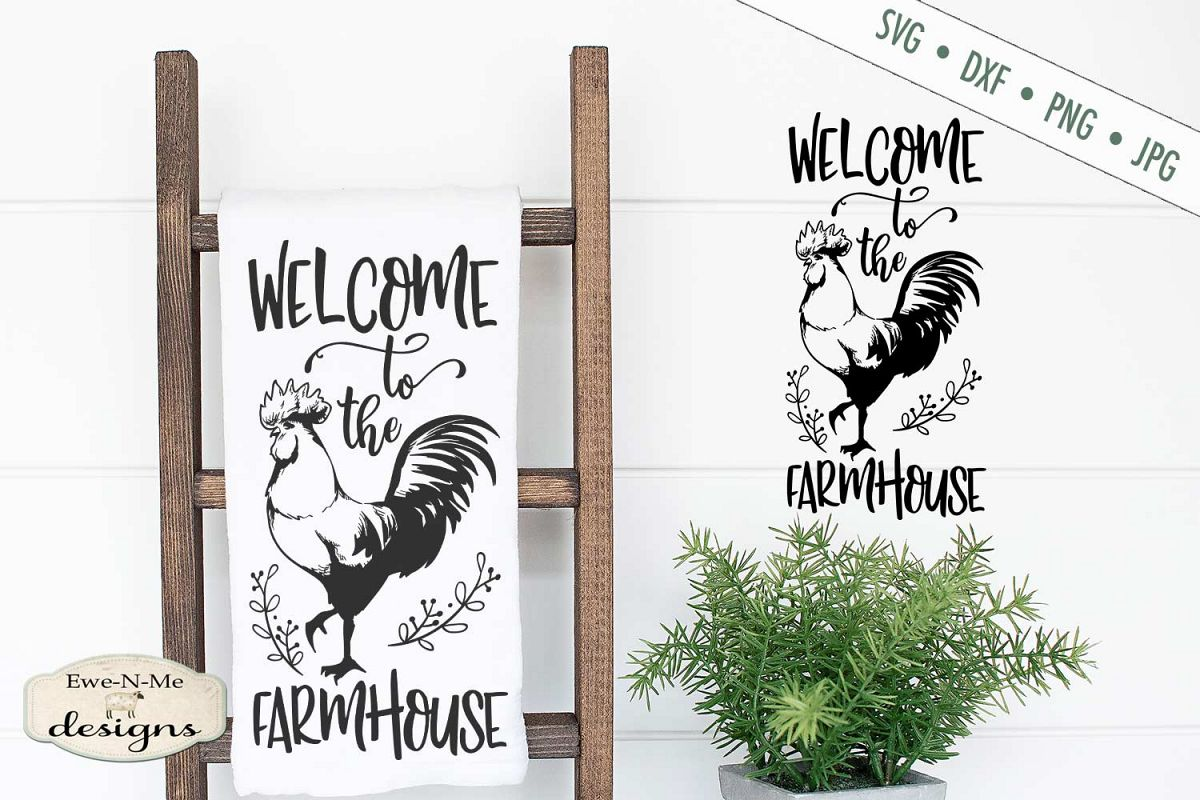 Welcome to the Farmhouse - Rooster - SVG DXF File example image 1