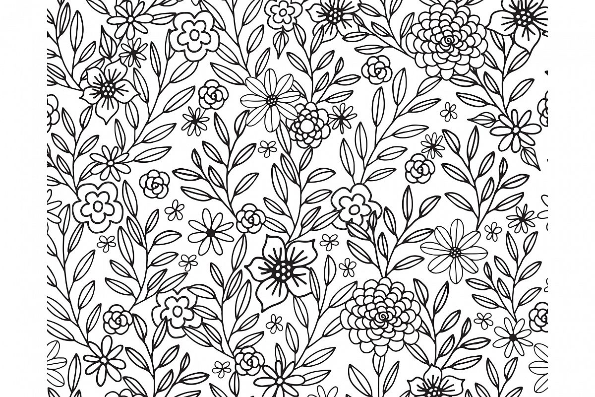Floral Doodles Seamless Pattern example image 1